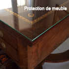 Protection de meuble par une plaque de verre sur mesure for Set de table pour table en verre