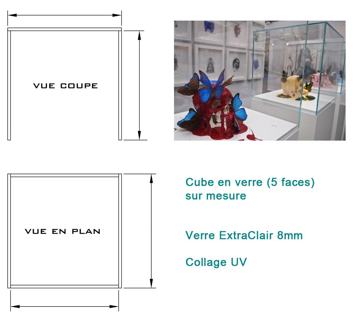 cube en verre sur mesure par collage uv. Black Bedroom Furniture Sets. Home Design Ideas