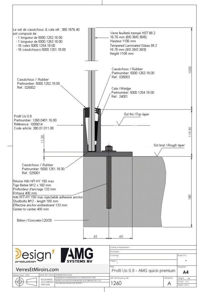 Kit profil en L pour garde corps verre Uo 0.8 longueur 4mètres avec ...