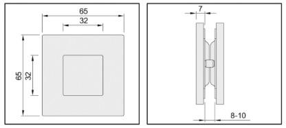 poign e cuvette carr e a encaster pour porte coulissante. Black Bedroom Furniture Sets. Home Design Ideas