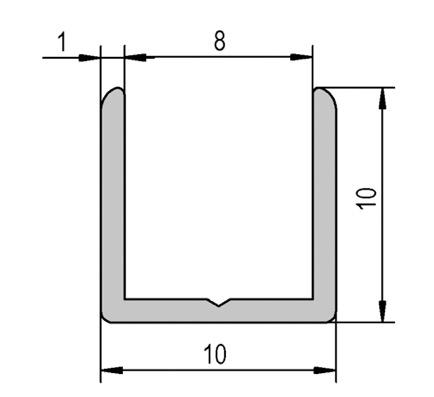 profil u aluminium anodis 2500mm pour verre de 6mm ref bo5201557 bohle. Black Bedroom Furniture Sets. Home Design Ideas