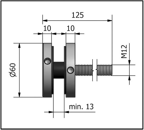 2 fixations par points pour garde corps ref bo5214060 bohle. Black Bedroom Furniture Sets. Home Design Ideas