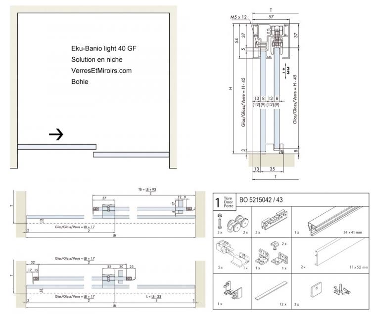 Systeme Porte Coulissante Pour Douche Kit Eku Banio Light 40 Gf Ref