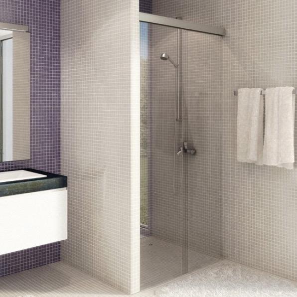 Syst me porte coulissante pour douche kit eku banio light for Porte douche miroir