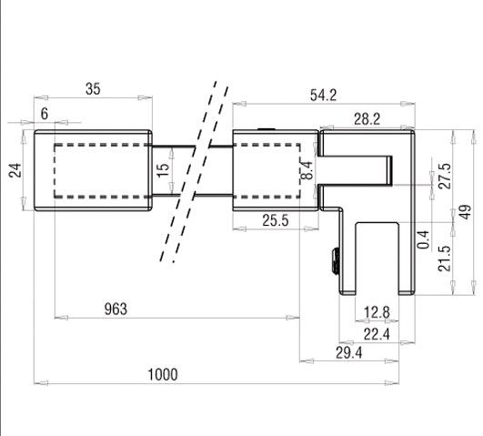 barre de stabilisation square verre mur 1m aspect inox ref bo5420240 bohle. Black Bedroom Furniture Sets. Home Design Ideas