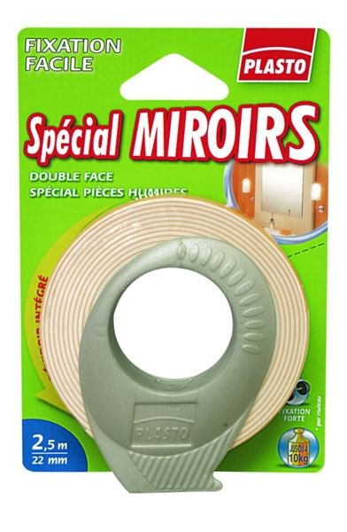 Adh sif double face sp cial miroir 2 5m ref pla dfmiroir for Adhesif double face miroir