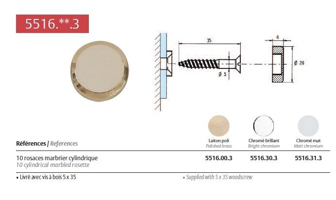 Rosace marbrier cylindrique chrom brillant pour fixation de miroir verre et - Fixation brique de verre ...