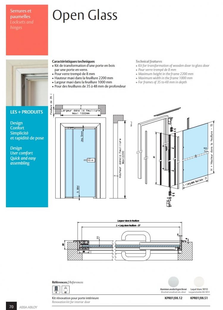 kit open glass pour porte en verre r novation de porte int rerieur ref str openglass kpr01. Black Bedroom Furniture Sets. Home Design Ideas
