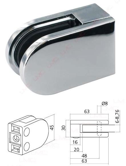 Pince De Fixation Chrome Pour Verre Securit 8mm Pour Piece Seche