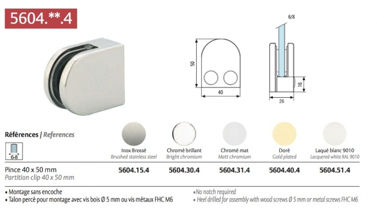 pince arrondie chrom brillant pour verre s curit 8mm fixation de paroi de douche sans. Black Bedroom Furniture Sets. Home Design Ideas